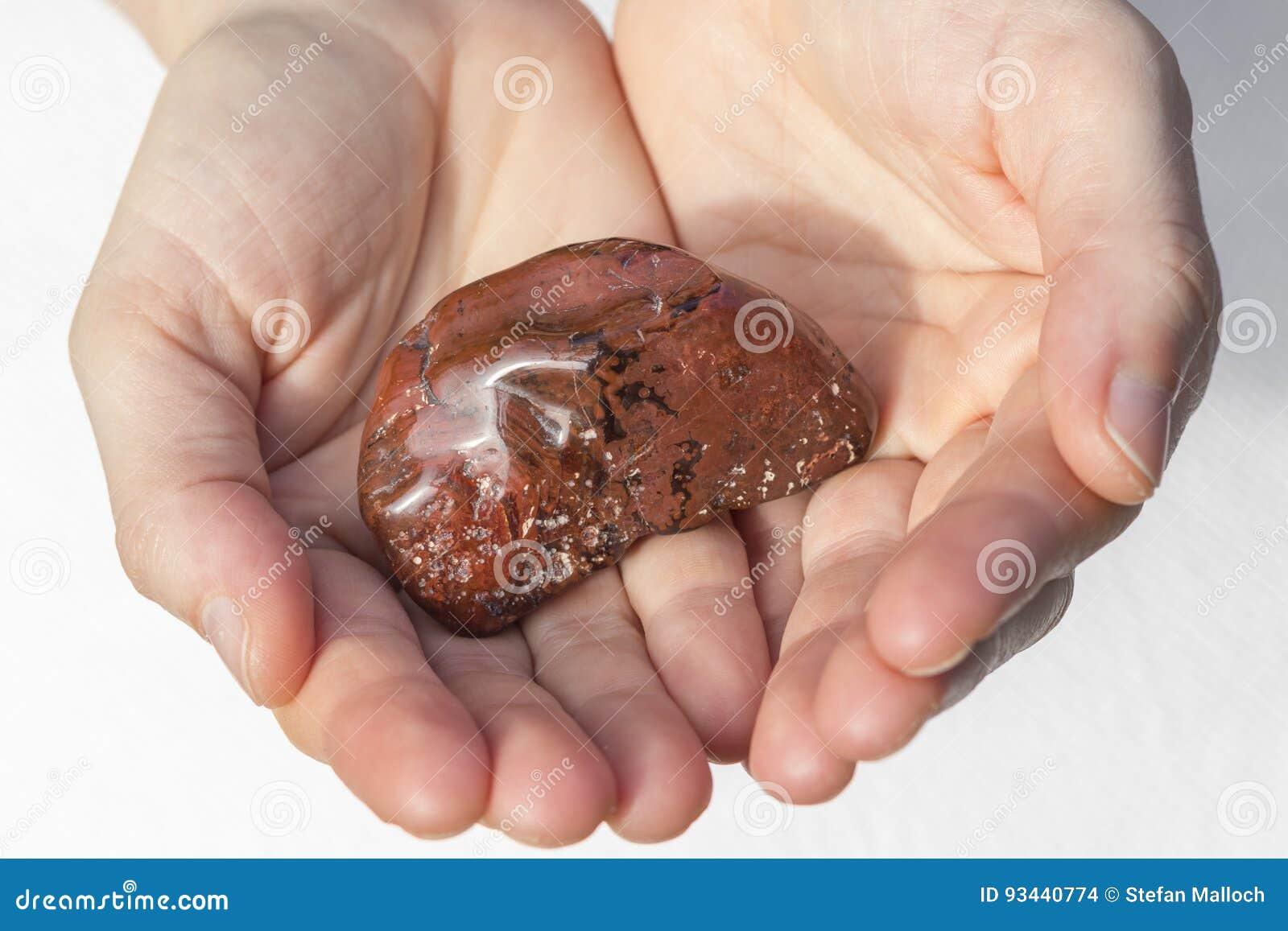 Big Carnelian Piece in hands