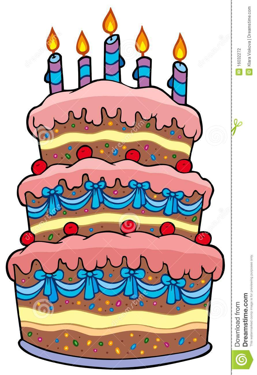 Big Cartoon Cake With Candles Stock Photography - Image: 16032272