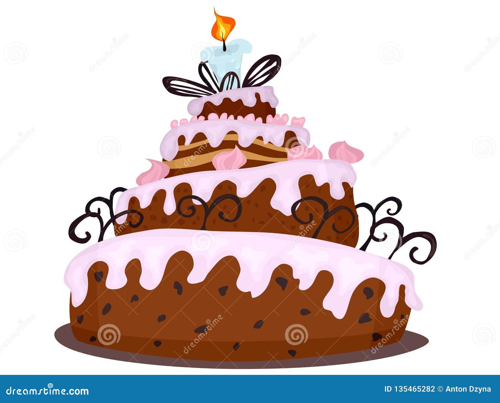 Outstanding Big Chocolate Cake With Cream Drawing Cartoon Stock Illustration Personalised Birthday Cards Veneteletsinfo