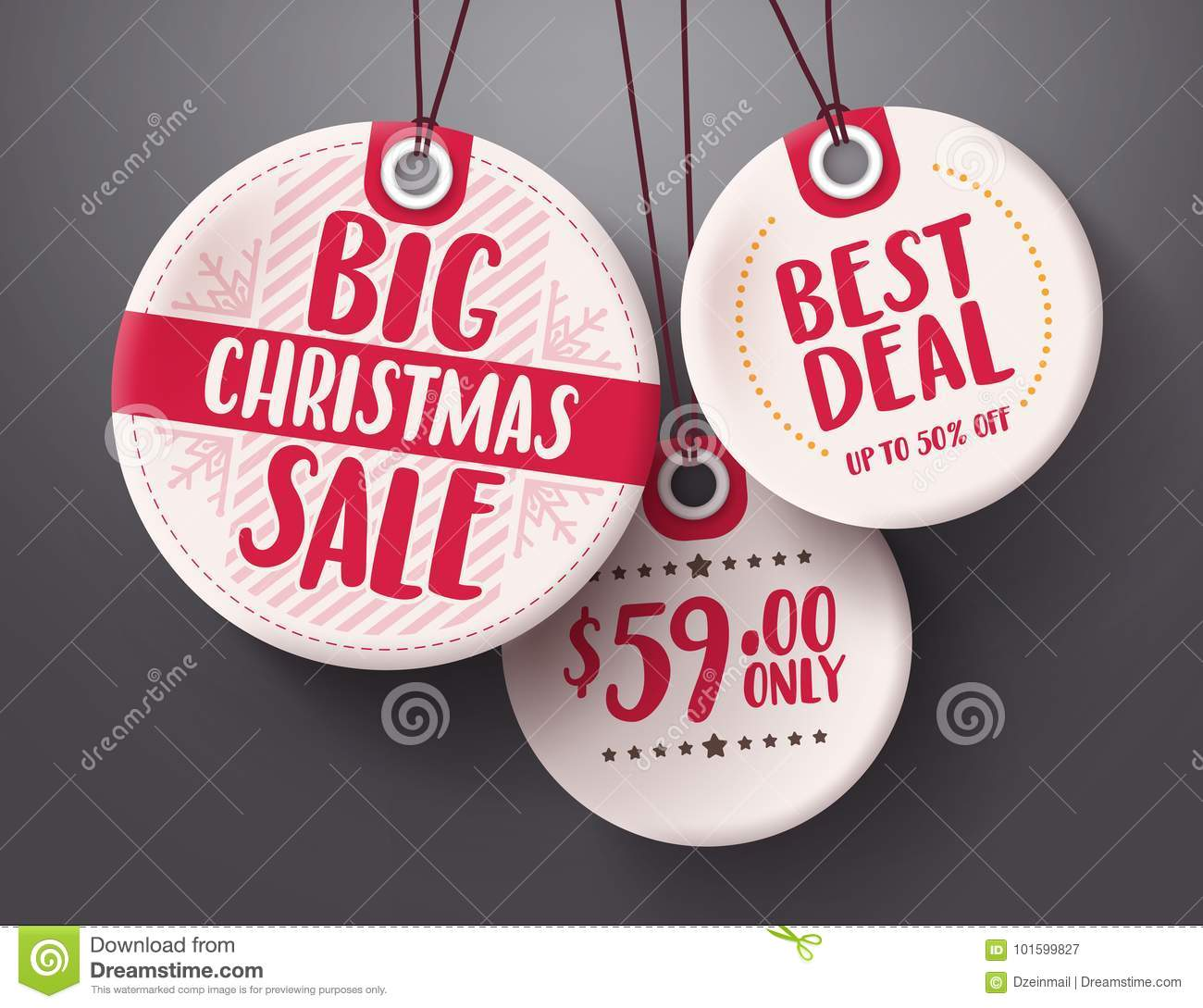 Big christmas sale tags vector set with white and red tag price color hanging