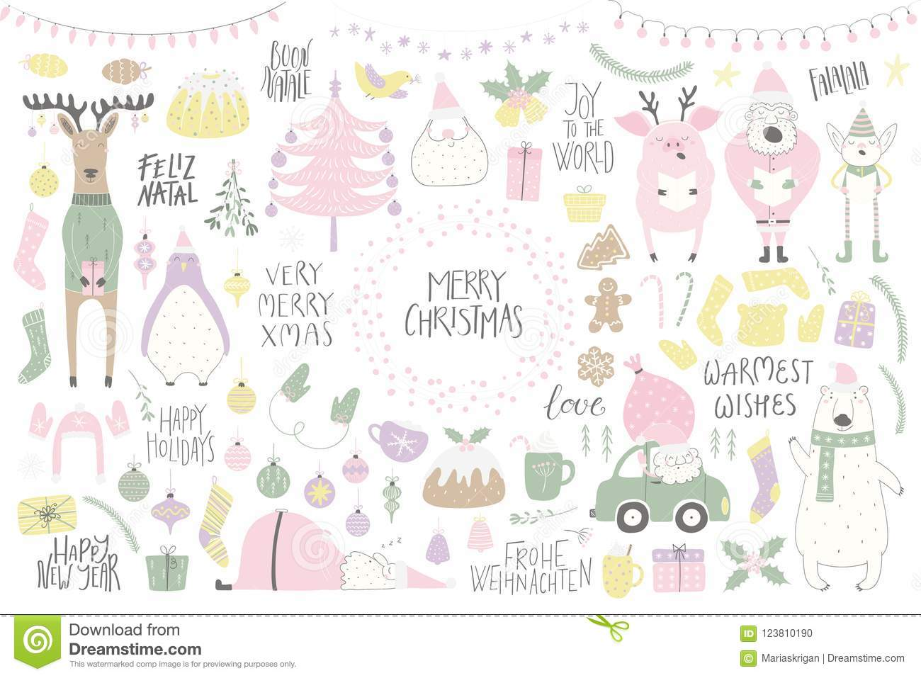 Big Christmas Set With Funny Characters Bear Penguin Reindeer Pig Santa Elf Tree Food Quotes Isolated Objects On White