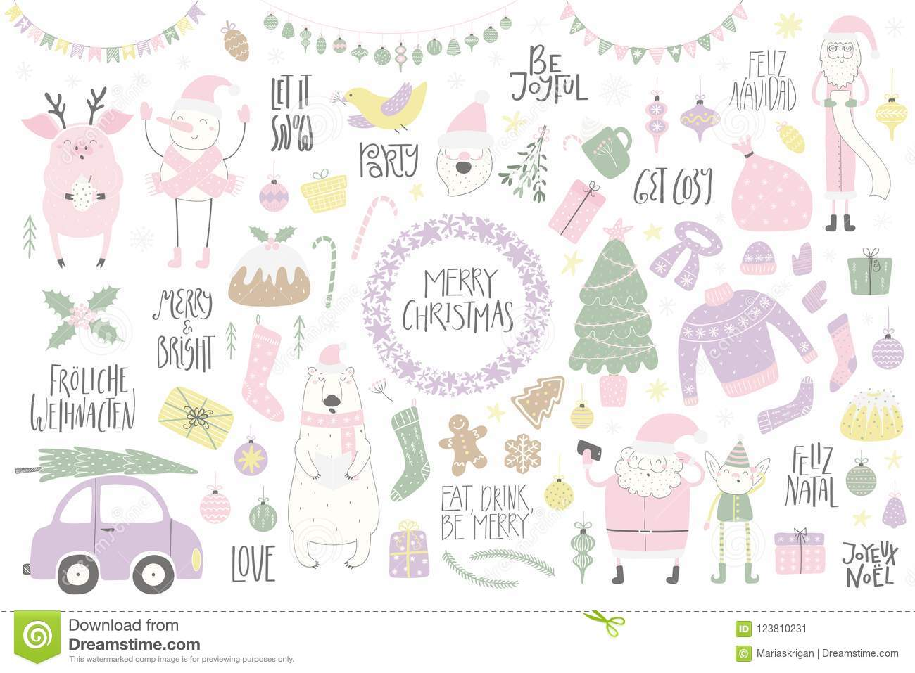 Big Christmas Set With Funny Characters Polar Bear Pig Santa Elf Snowman Tree Food Quotes Isolated Objects On White Hand Drawn Vector Illustration