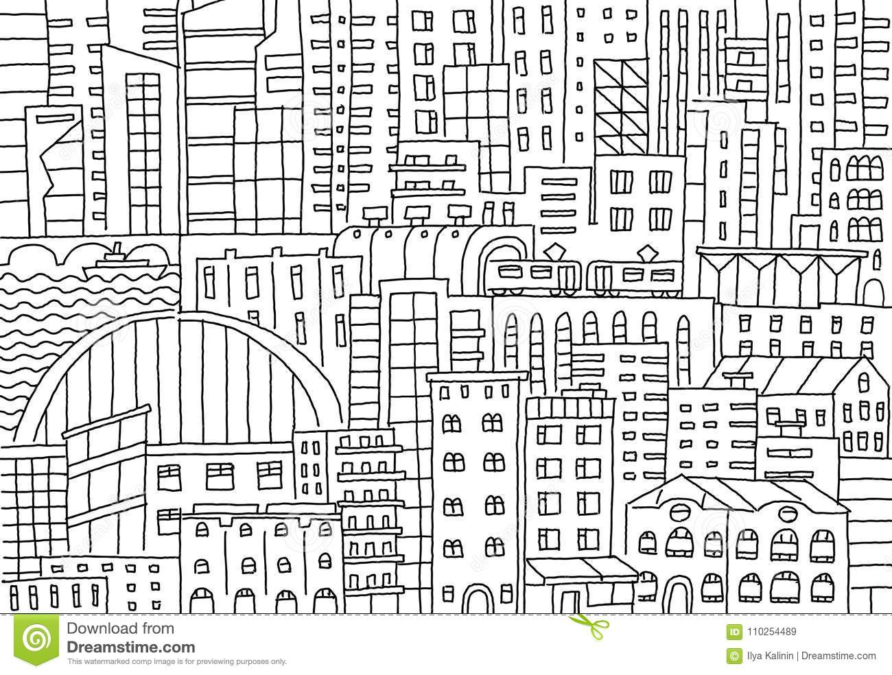 Big City Background Texture Skyscraper Sketch Buildings Line