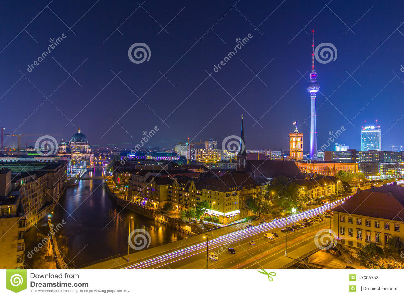 big city lights night sky over berlin editorial stock photo image 47305753. Black Bedroom Furniture Sets. Home Design Ideas