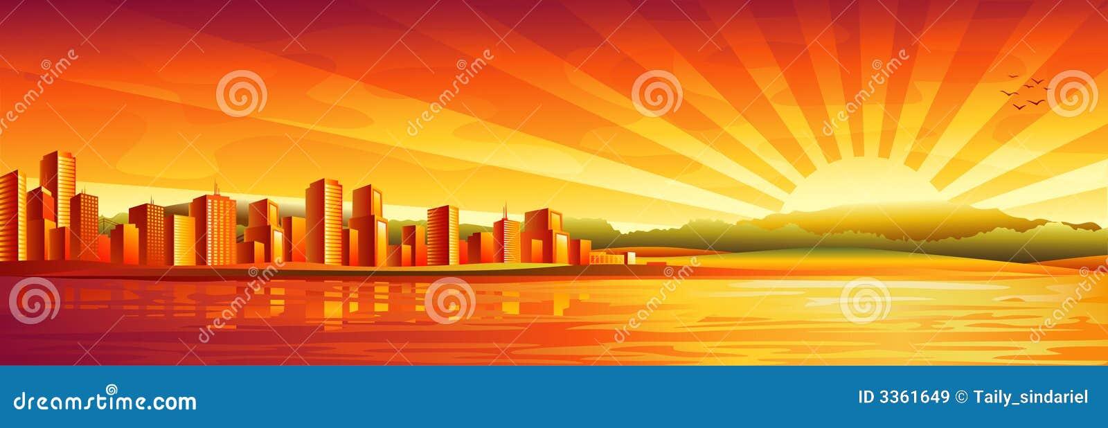 Big city sunset panorama