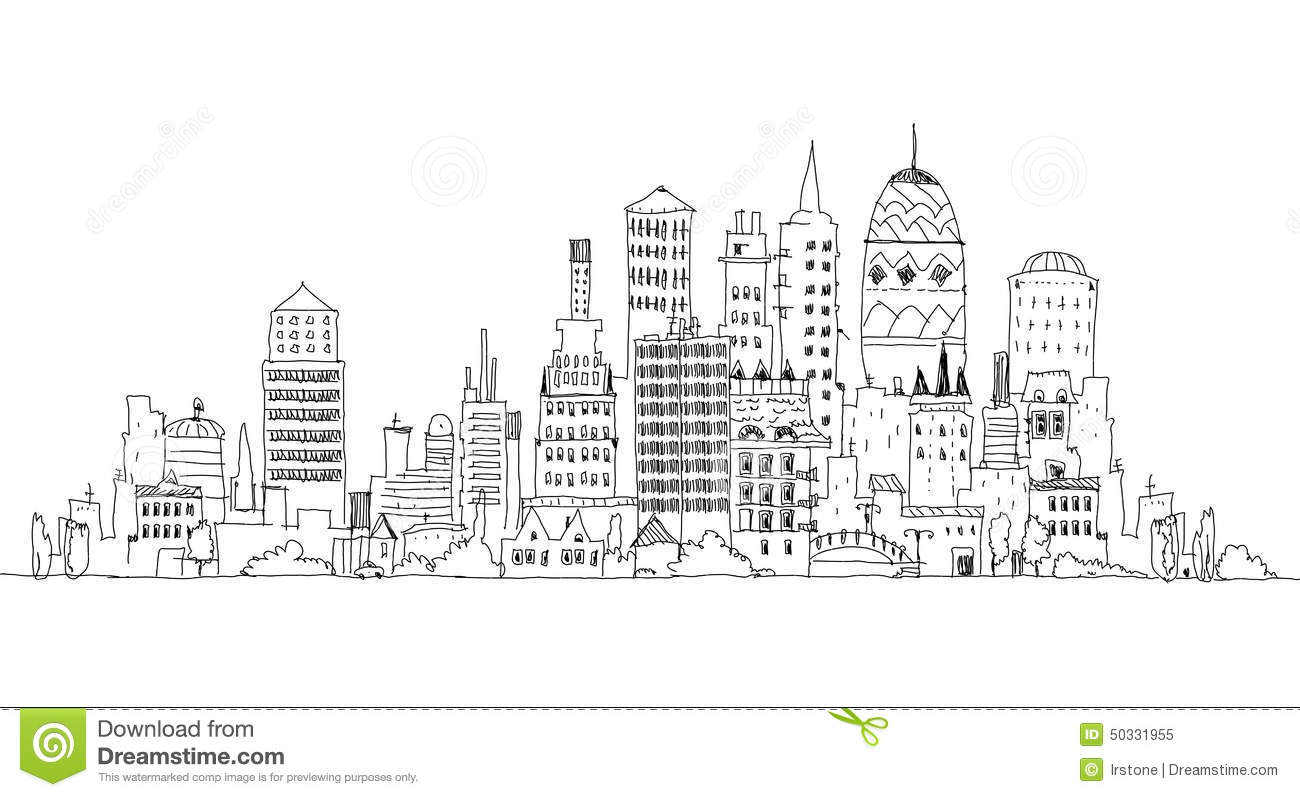 big city view  sketch collection stock illustration