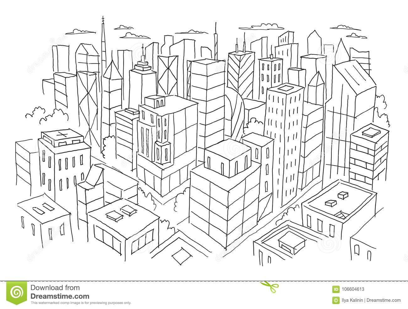 Big City View From The Top Sketch Hand Drawn Vector Stock Line