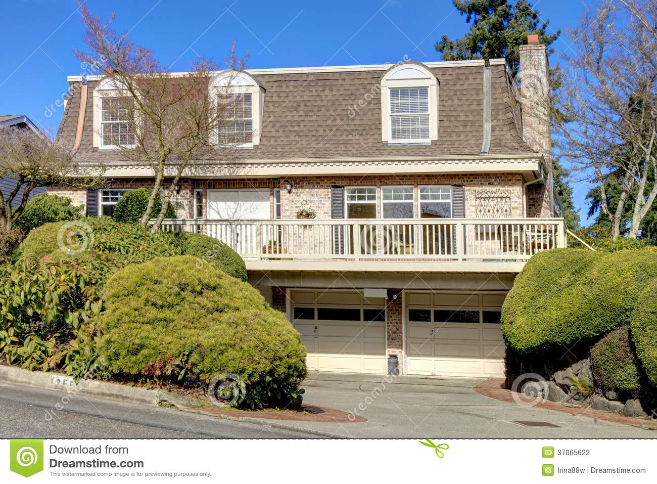 Big classic house with a balcony and arch windows stock photography image 37065622 - Houses with attic and balconies ...
