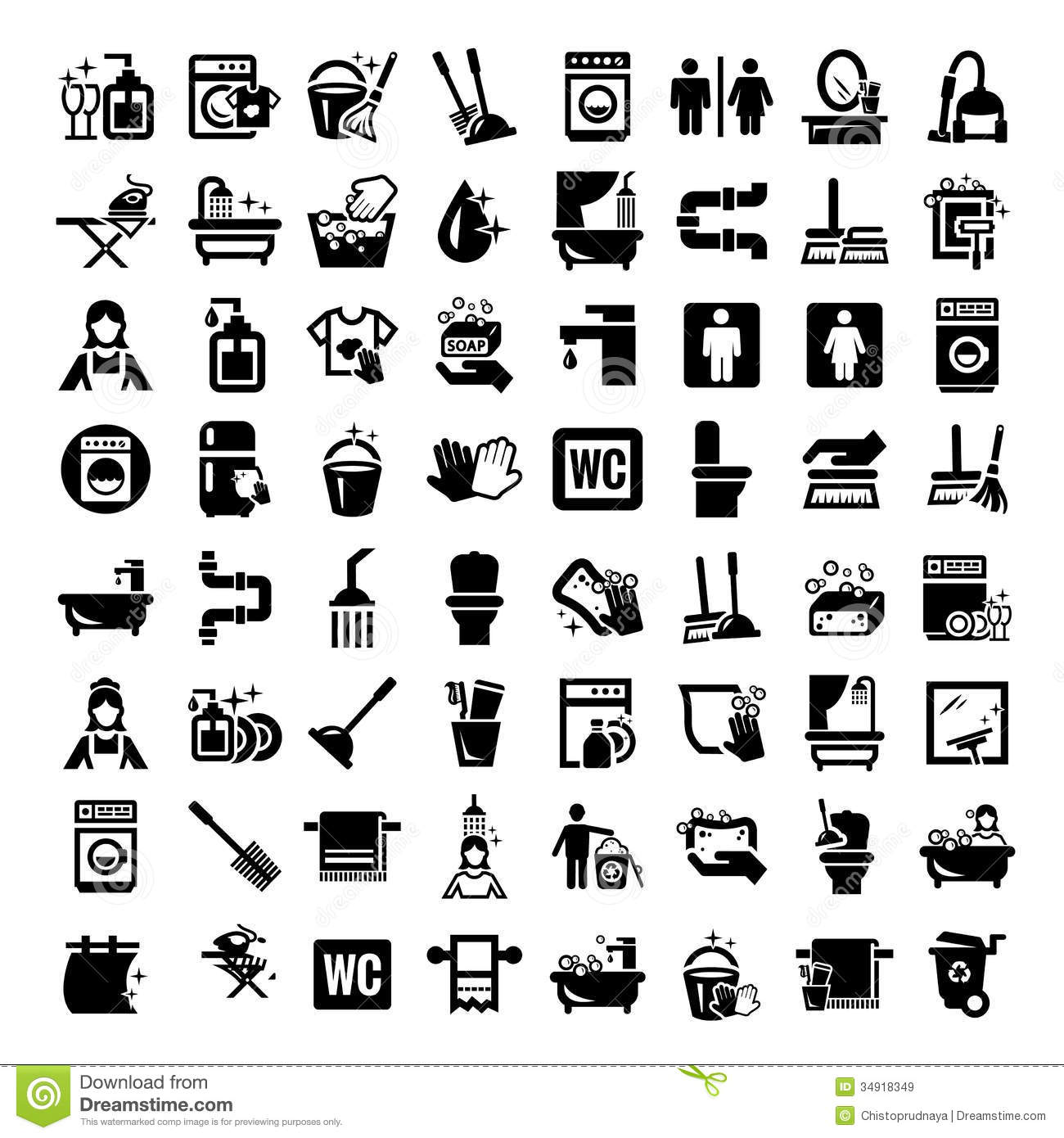 Royalty Free Stock Images Big Cleaning Icons Set Elegant Vector Black Image34918349 on Dusting Cleaning Clip Art Free