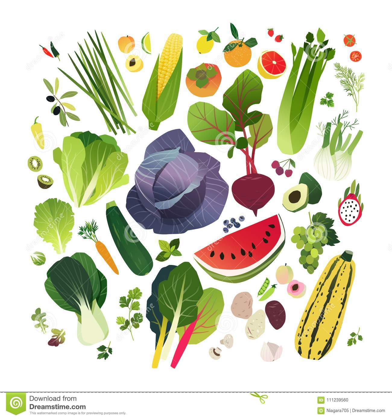 Big Clip Art Collection With Fruits And Vegetables Stock Vector