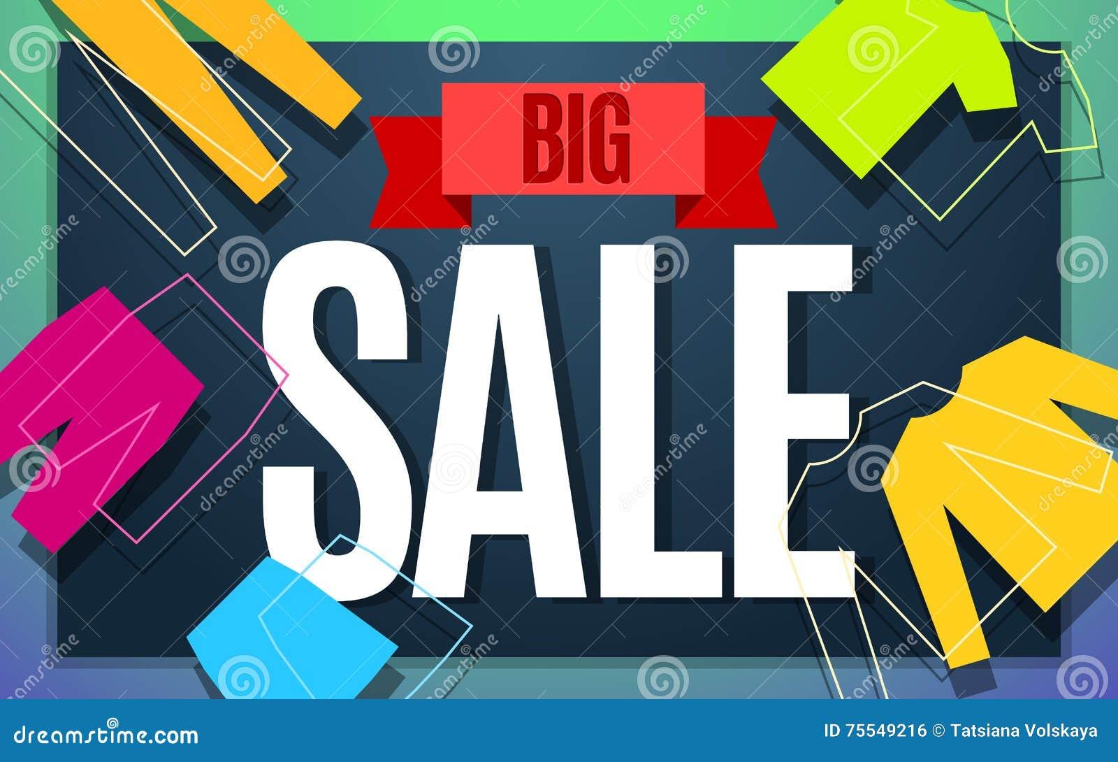 big clothes sale banner design  stock vector
