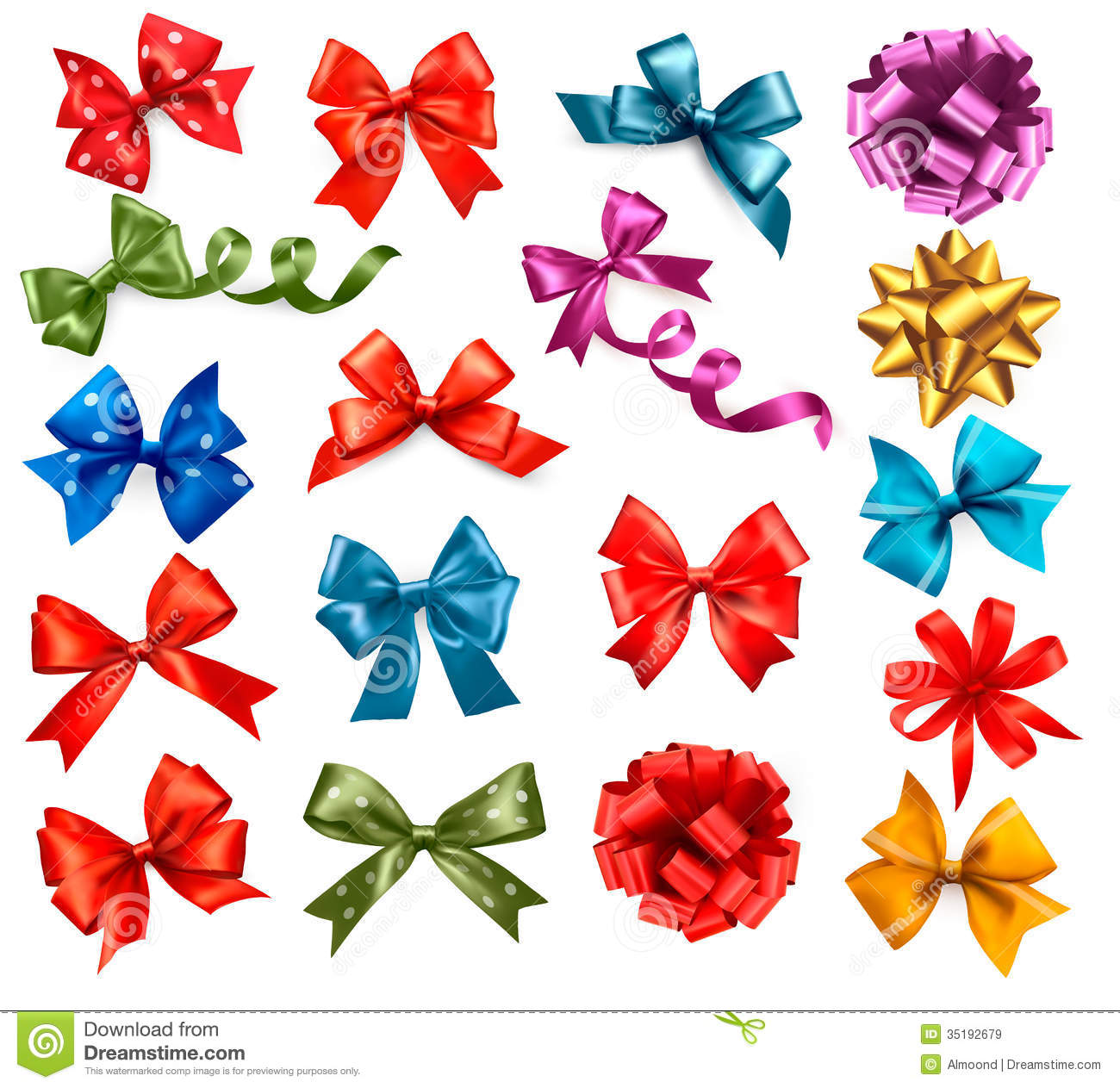 Big Collection Of Color Gift Bows With Ribbons Royalty