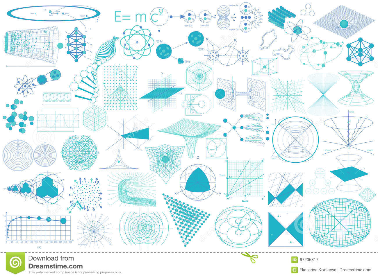 Big Collection Of Elements Symbols And Schemes Of Physics Stock