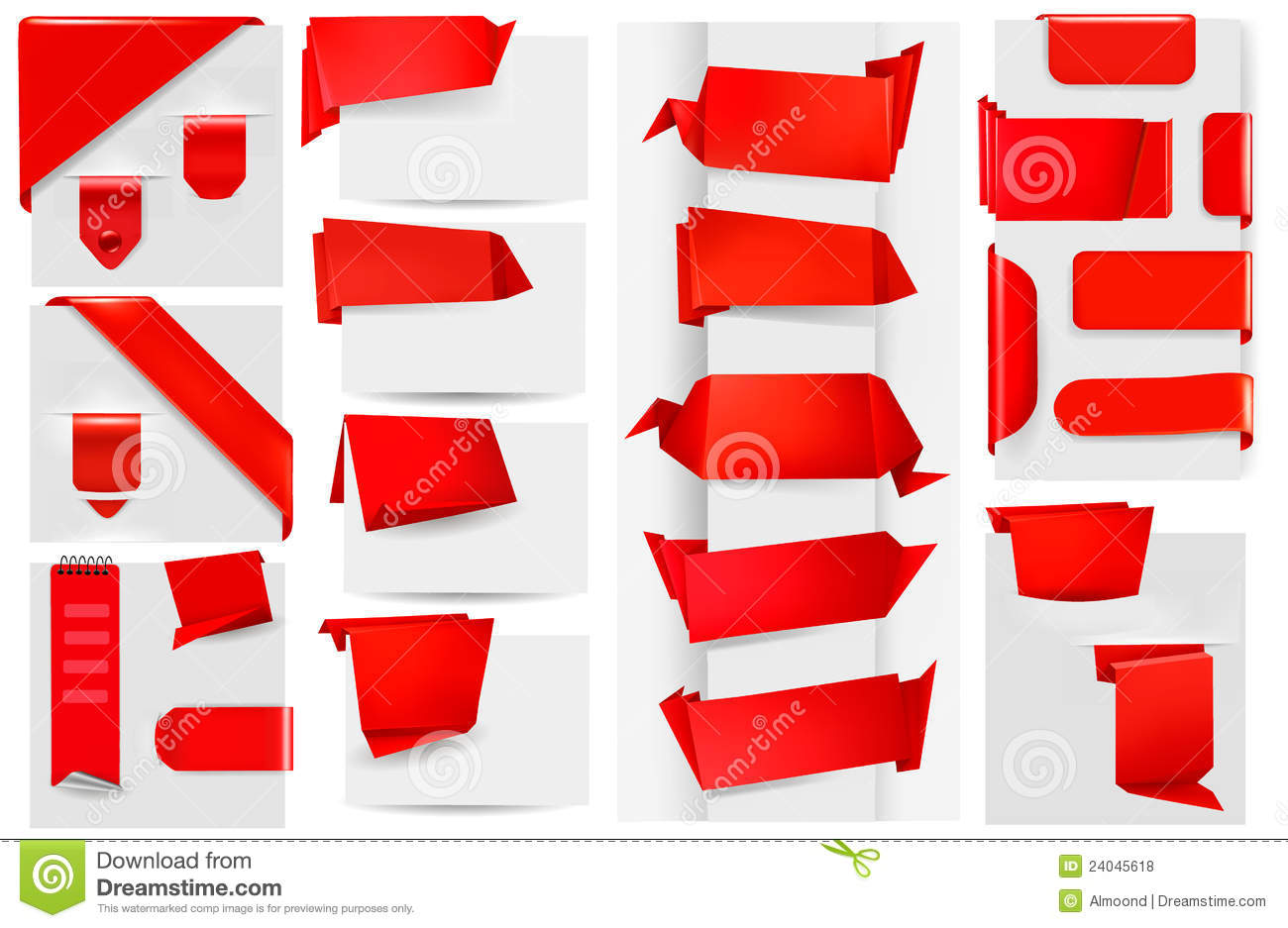 big collection of red origami paper banners royalty free