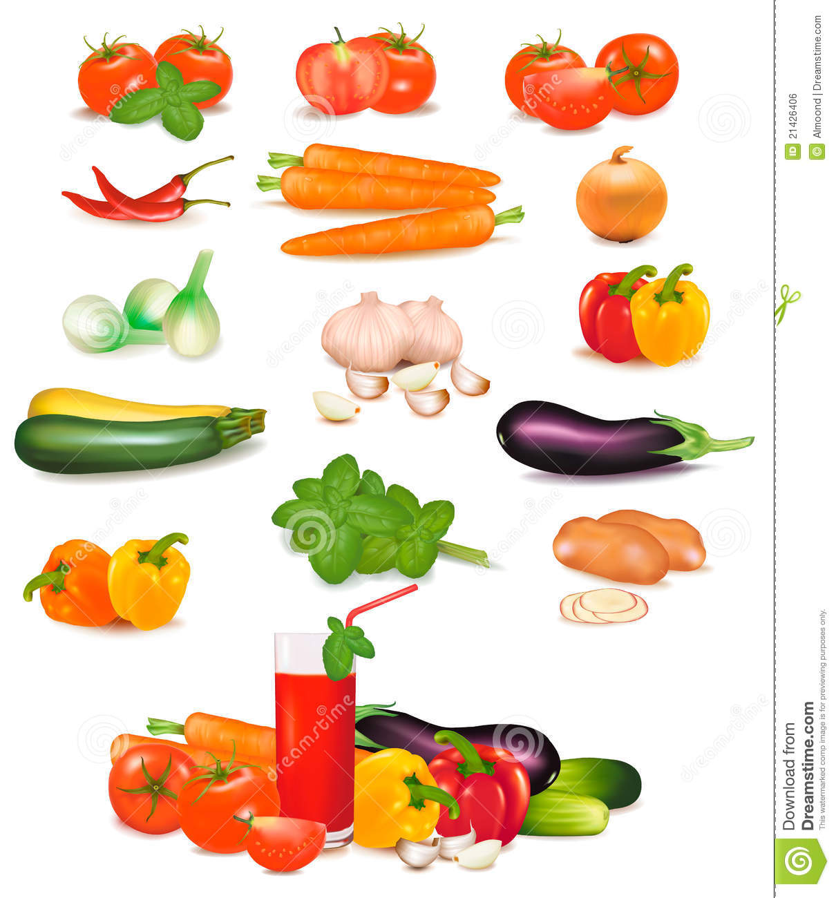 The Big Colorful Group Of Vegetables. Stock Vector - Image ...