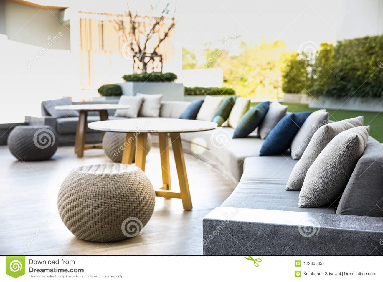 7b4d0ab8f9d Big Comfort Cushion Sofa With Cozy Pillows. Stock Image - Image of ...