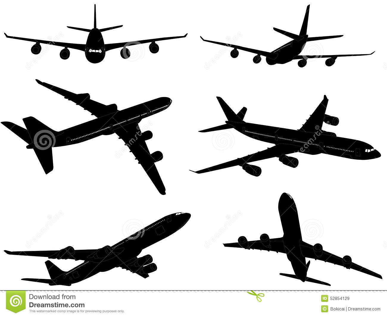 Big commercial airplanes silhouettes