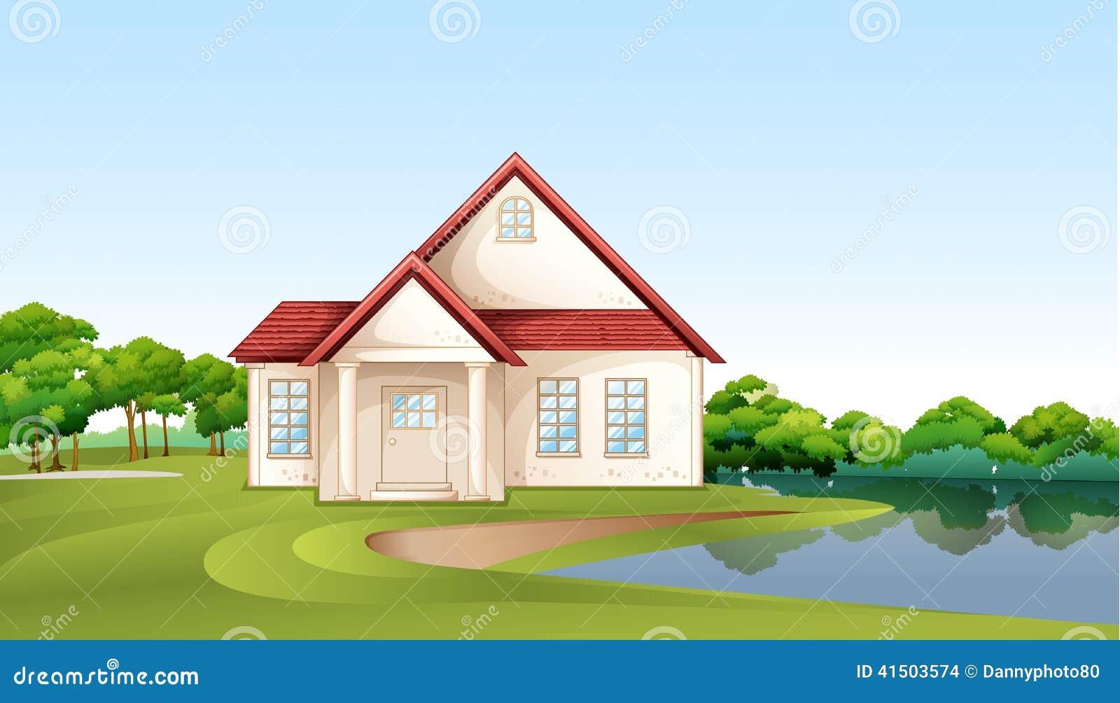 A Big Concrete House Near The River Stock Vector Image