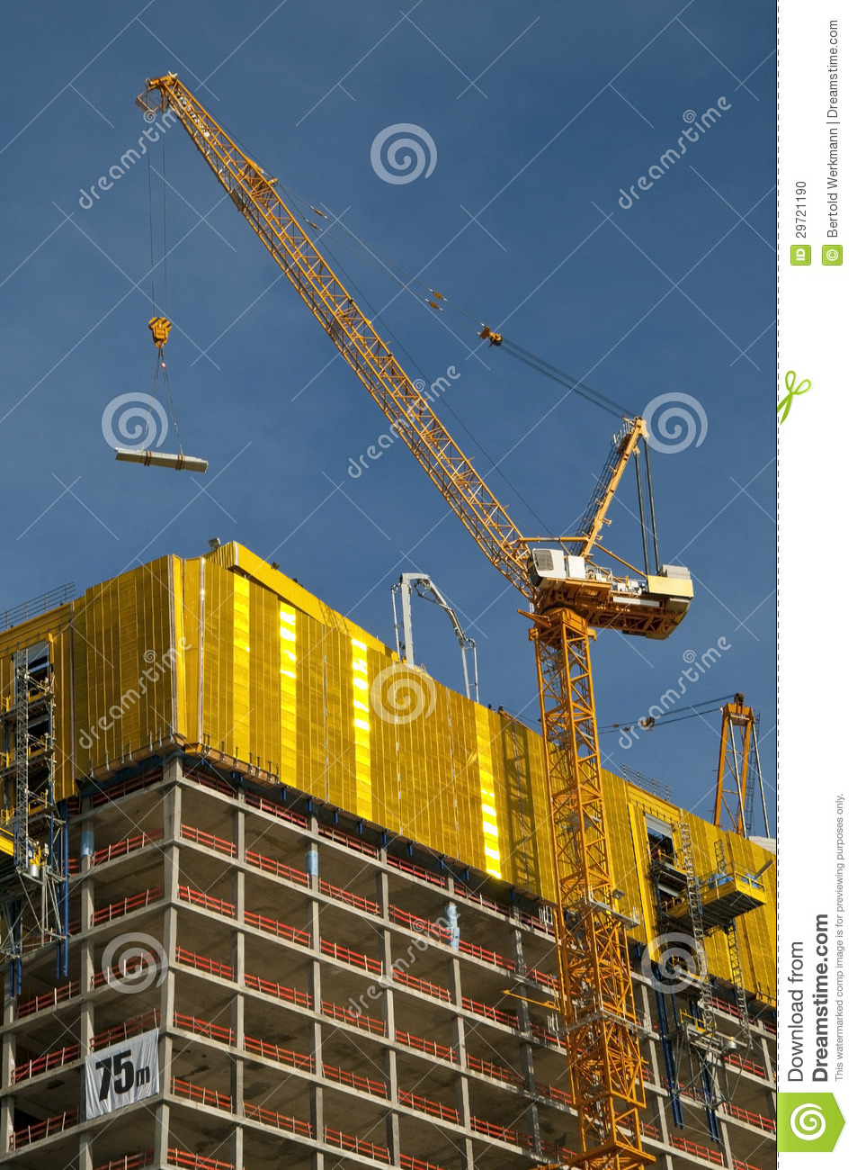 Large Construction Cranes : Construction site large building stock photo image