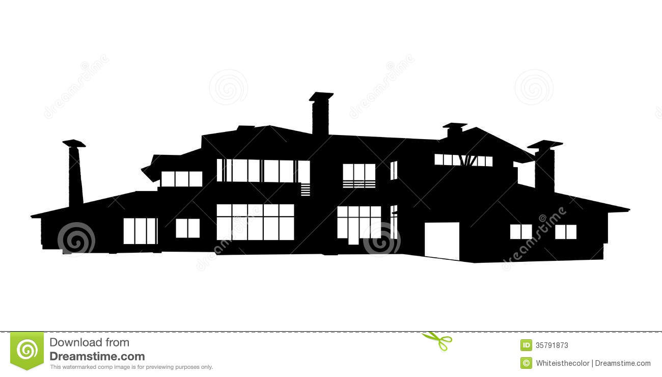 Big contemporary country house silhouette stock photos