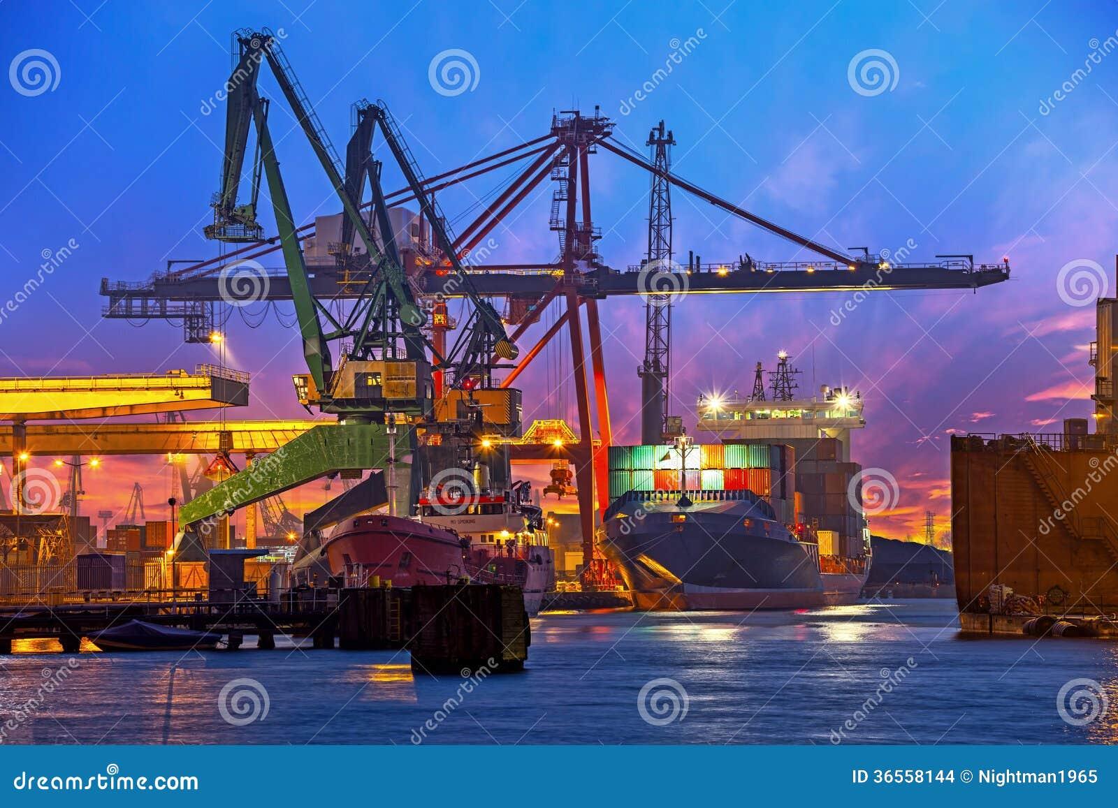 Harbor Freight Gantry Crane >> Big Cranes at sunset stock photo. Image of gdansk, poland ...