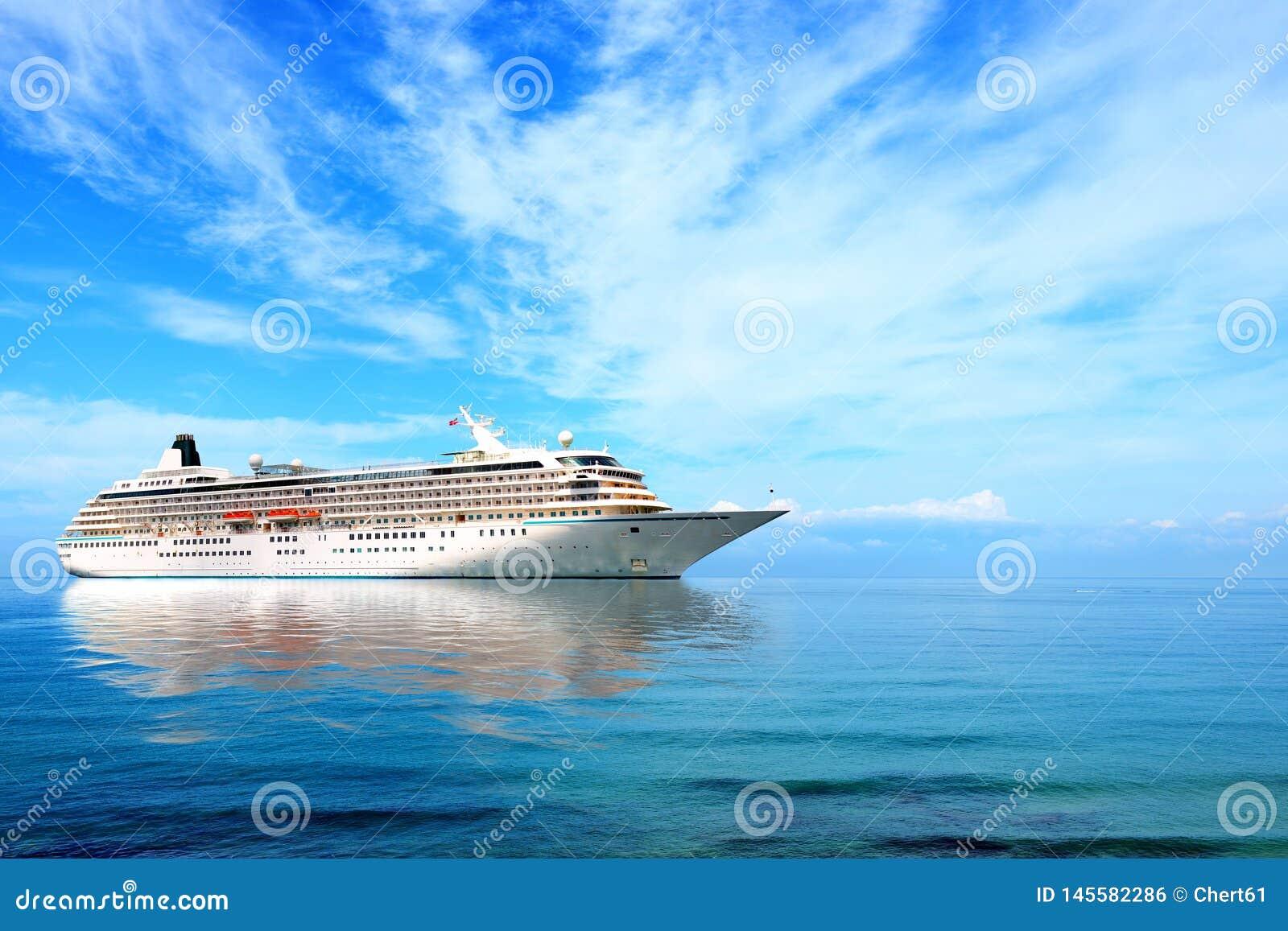 Big cruise liner moored in Mediterranean sea