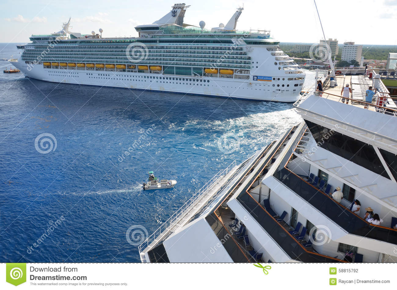 Big Cruise Ships In Cozumel Mexico Editorial Photography