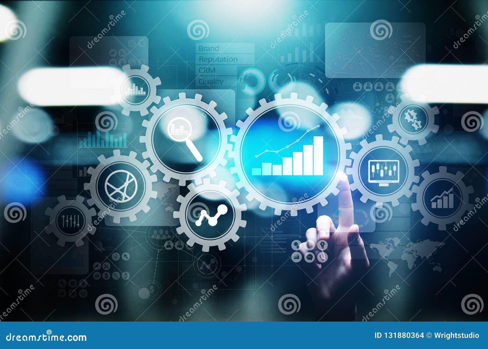 Big Data analys, diagram för analytics för affärsprocess med kugghjul och symboler på den faktiska skärmen