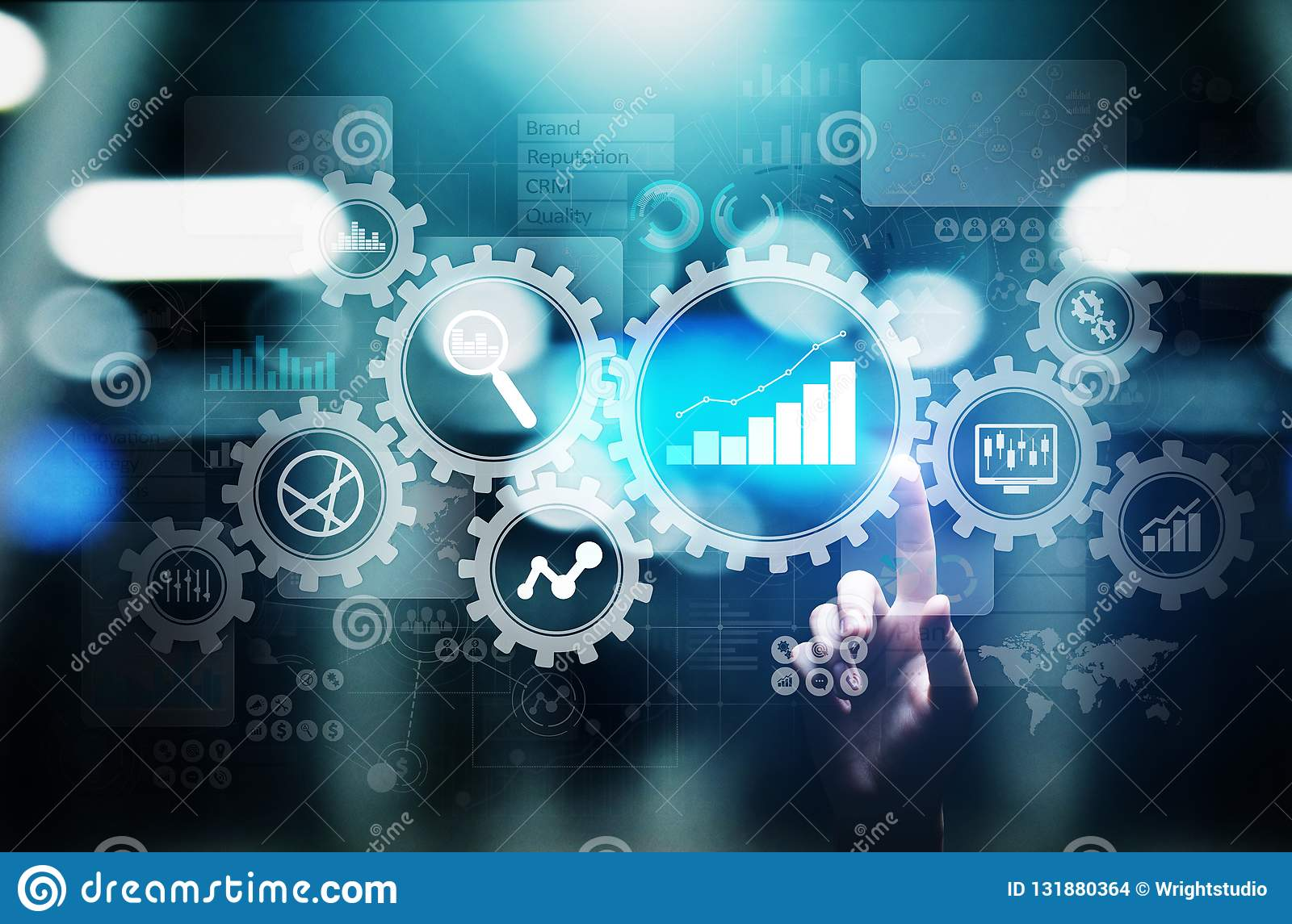 Big Data analysis, Business process analytics diagrams with gears and icons on virtual screen.