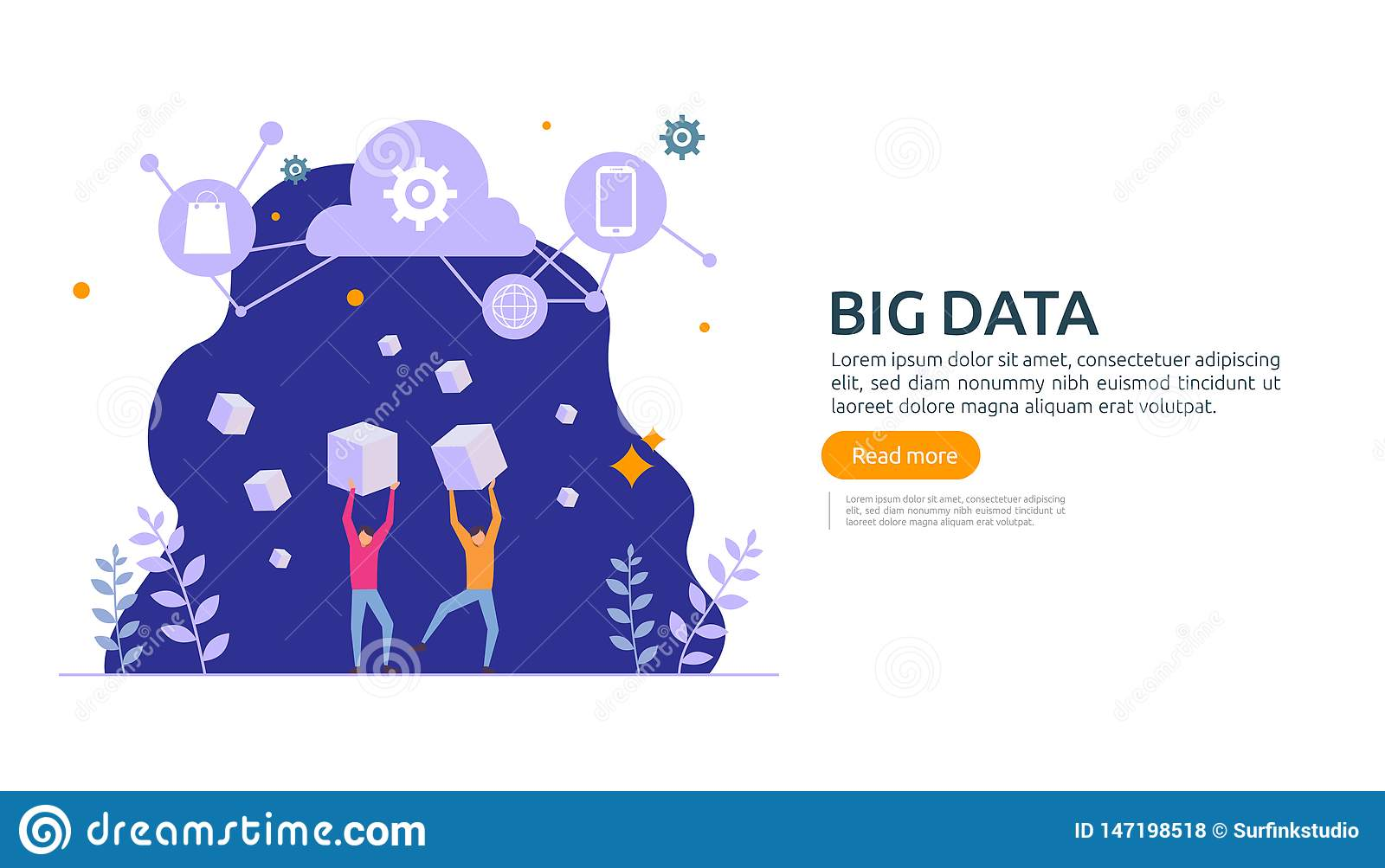 big data and analysis processing concept landing page template. cloud database service, server center room rack with interacting
