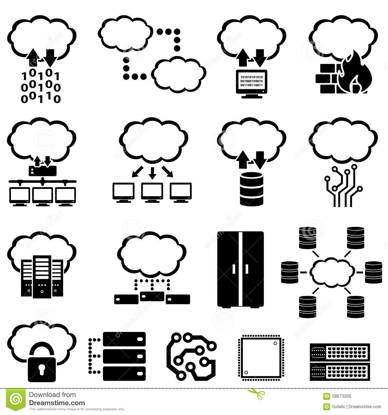 big data and cloud computing stock vector