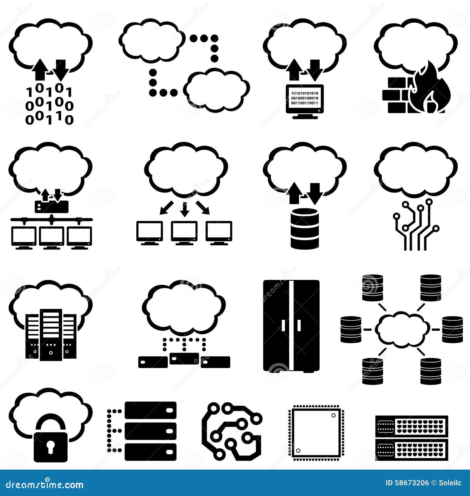 big data and cloud computing stock vector