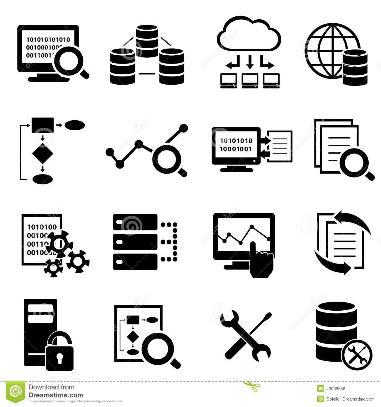 Big data cloud computing technology icons stock illustrations.