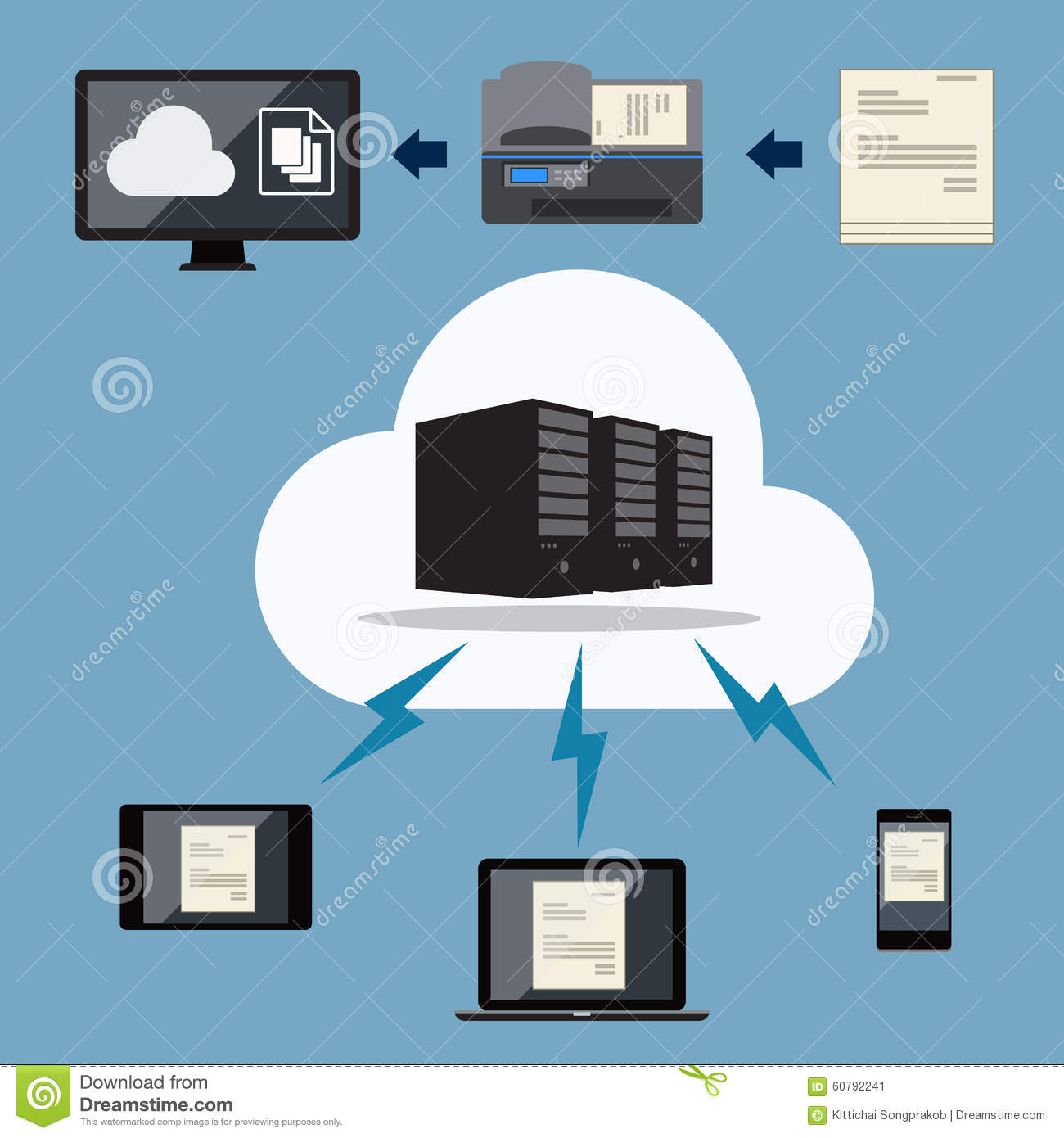 Big data cloud document storage stock vector image for Cloud document storage for business