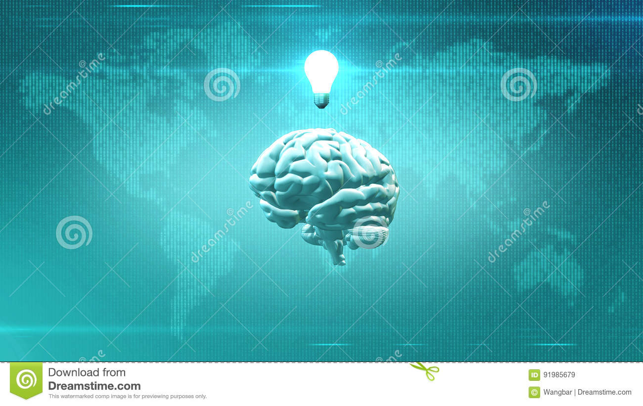 Big Data concept - Brain in front of Earth illustration with lightbulb