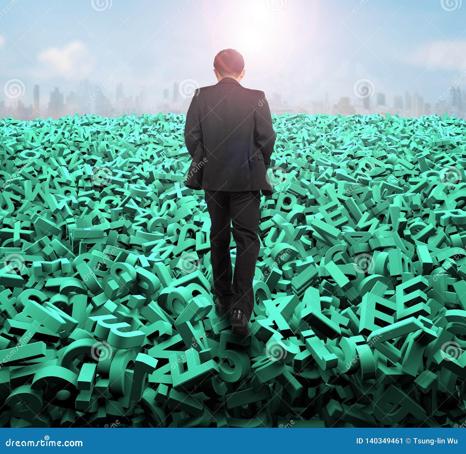 Big data concept, businessman walking on huge green characters