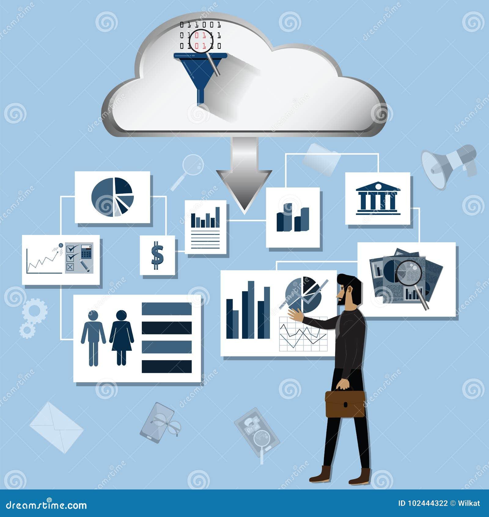Big Data Concept,Big Data In Marketing,e-commerce - Vector
