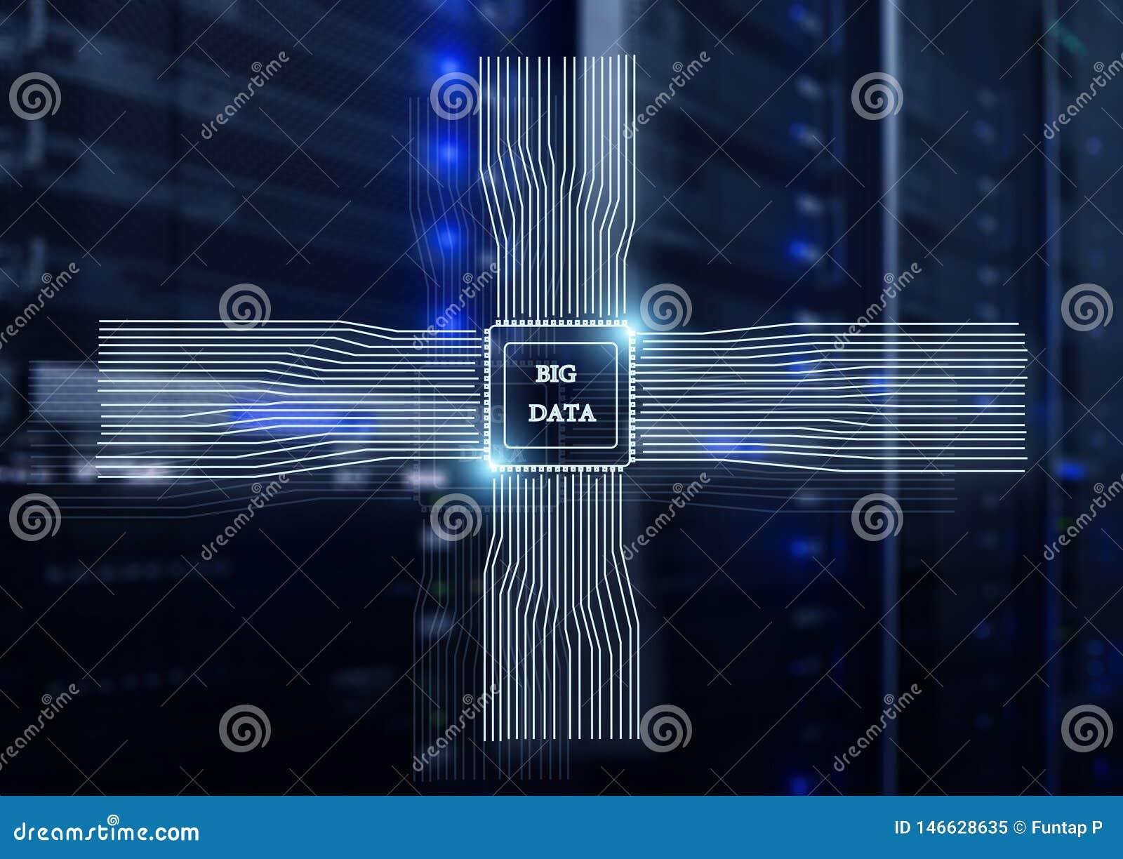 Big Data-Concept op de moderne achtergrond van de serverruimte