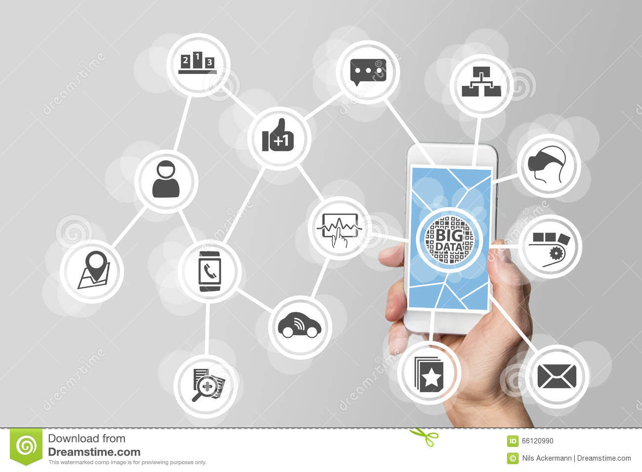 Big data concept in order to analyze large volume of data from connected mobile devices. Hand holding smart phone on white backgro