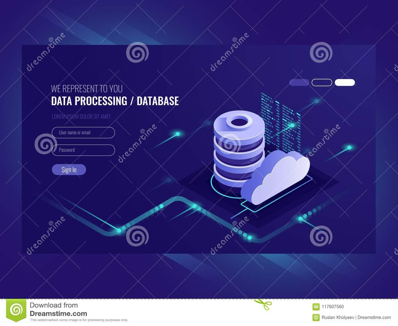 Big data flow processing concept, cloud database, isometric vector, web hosting and server room icons