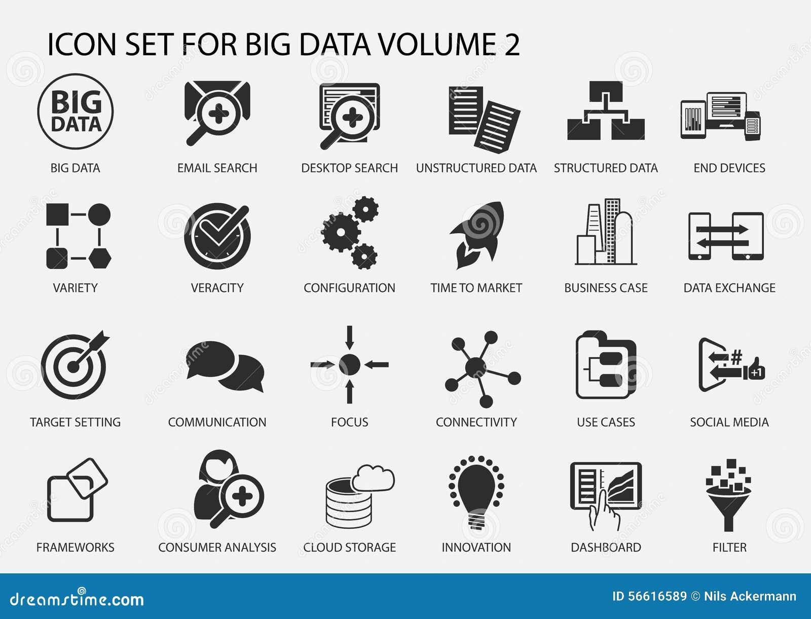 Big Data Icon Set In Flat Design Stock Vector