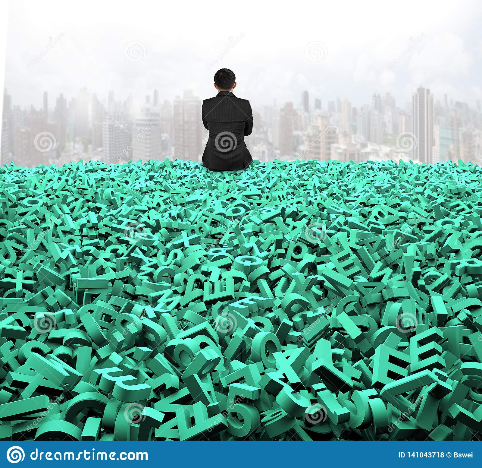 Big data, rear view businessman sitting on huge green characters