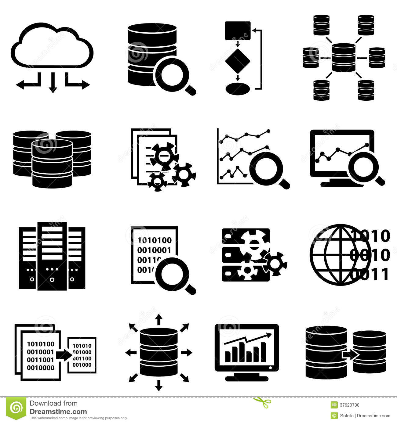 Big Data And Technology Icons Stock Vector - Illustration of
