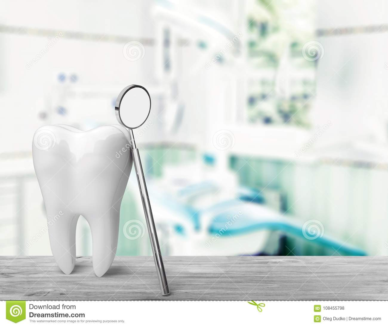 Big tooth and dentist mirror, medical concept