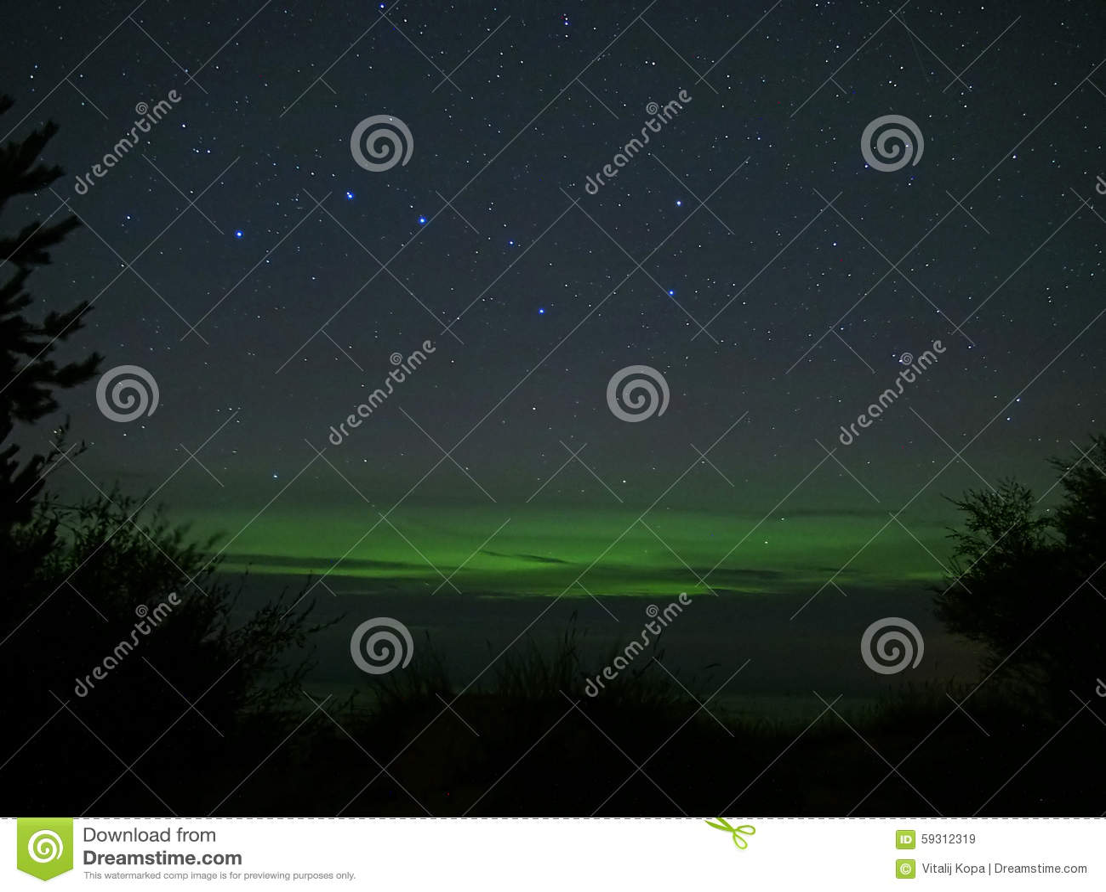Night sky stars big dipper constellation and aurora northern polar lights
