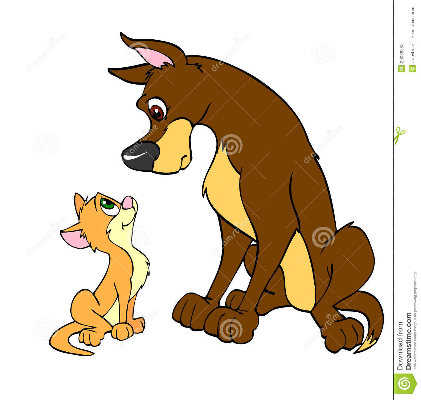 Small Cat And Big Dog Clipart