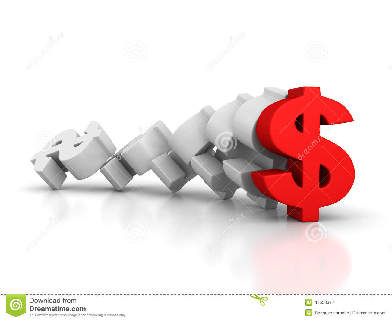 Big dollar currency symbols with one red forward leader stock royalty free stock photo biocorpaavc Choice Image
