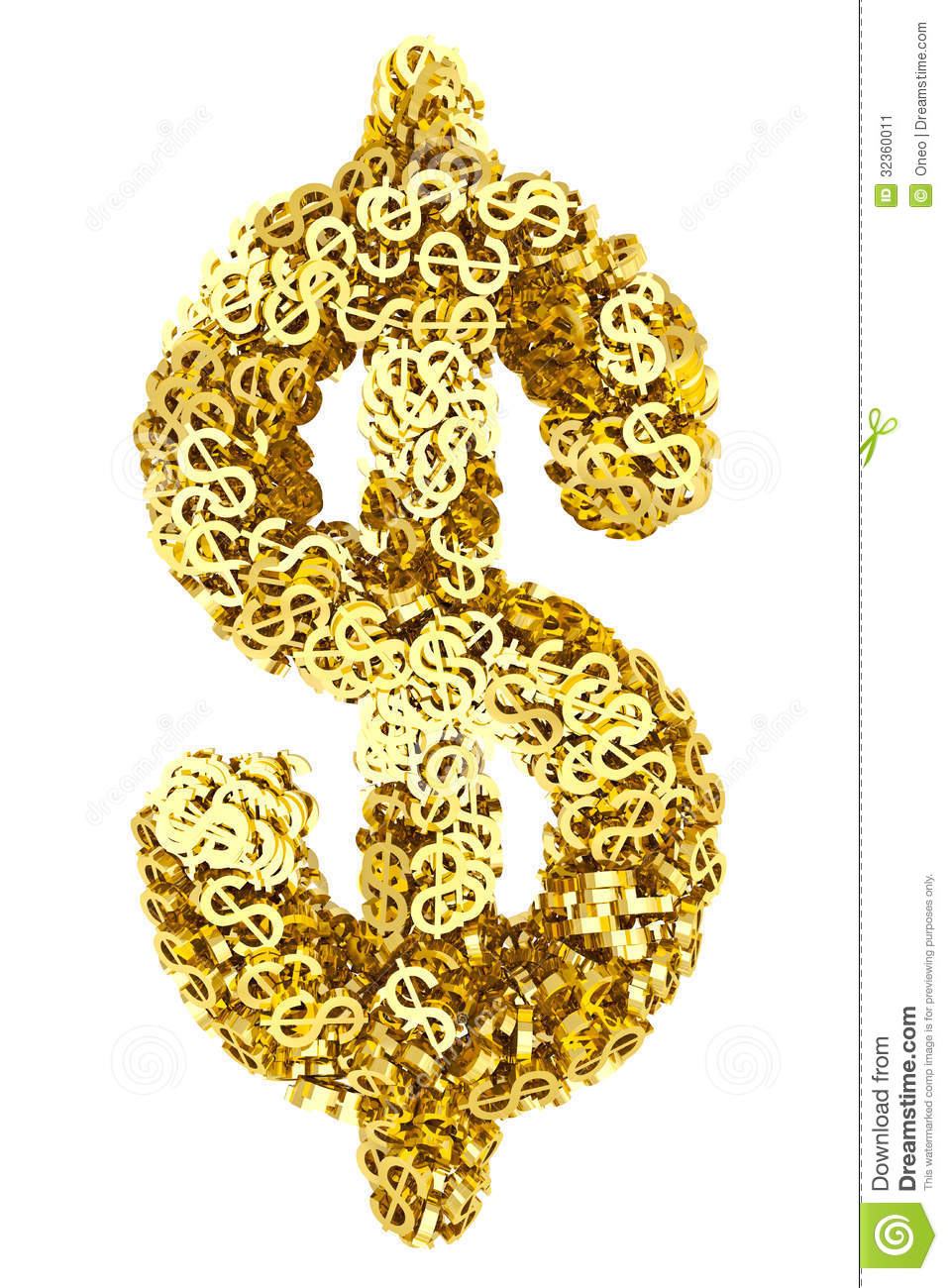 Big Dollar Sign Composed Of Many Golden Small Dollar Signs ...