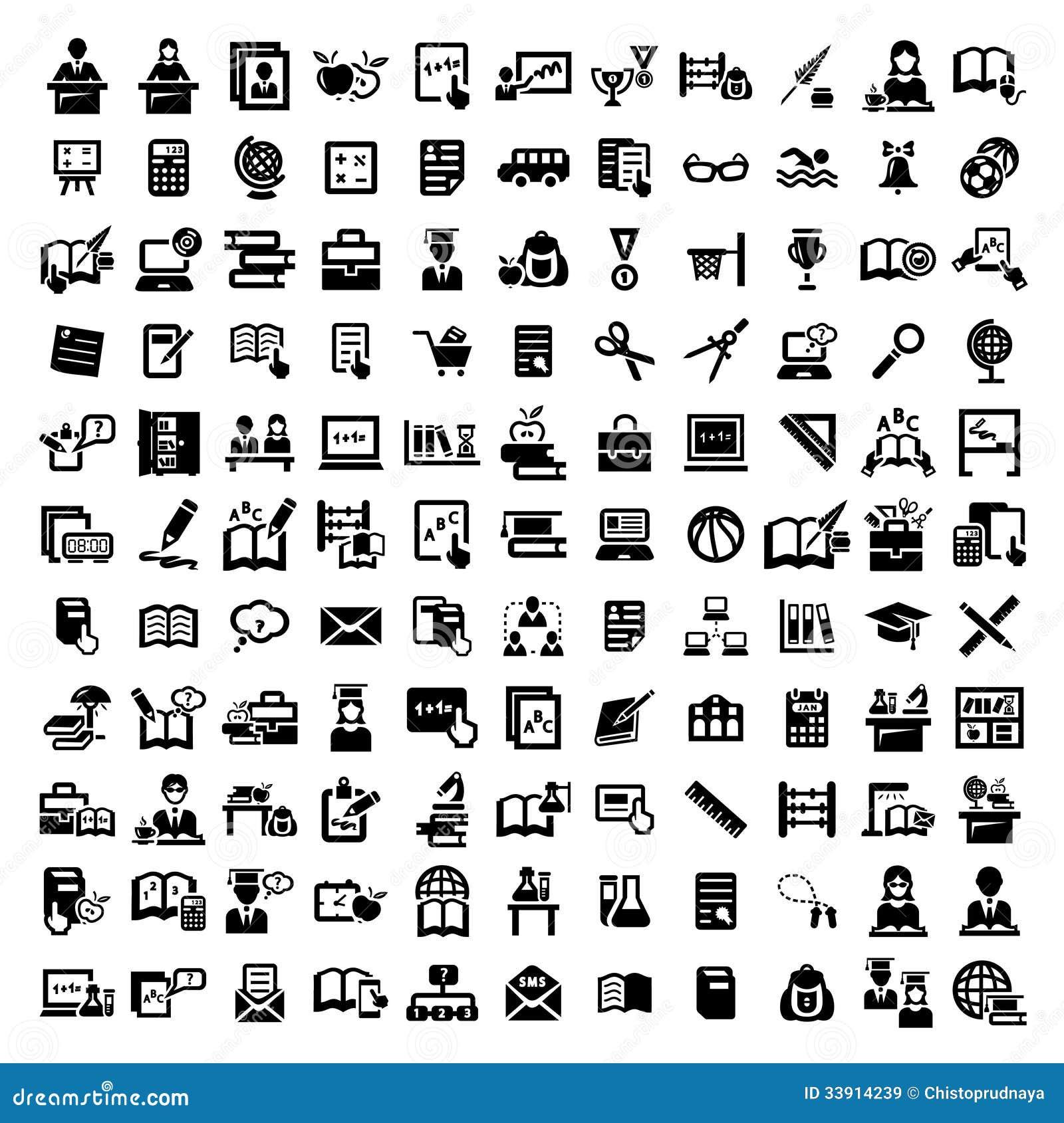Big education icons set