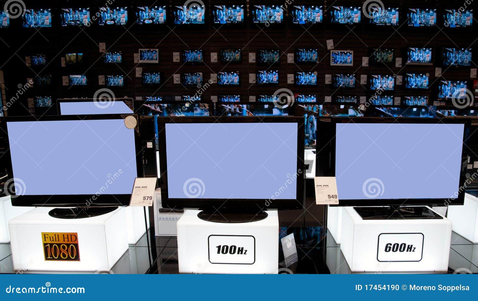 Big electronic retail store: tv